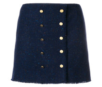 Front-buttoned Frayed Mini Skirt
