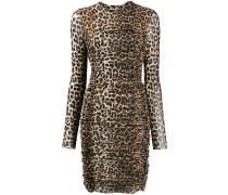 Gerafftes Kleid mit Leo-Print