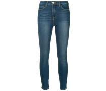 Halbhohe Skinny-Jeans mit Besatzstreifen