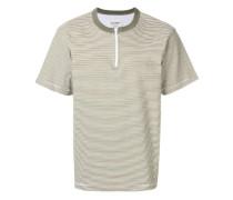 zip detail striped T-shirt