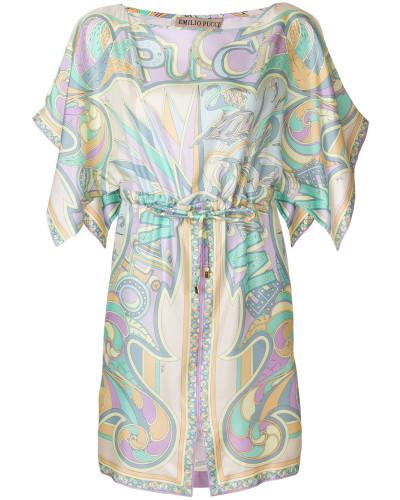 Bedrucktes Seidenkleid mit Taillenzug