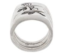 engraved rose split ring
