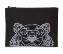 Tiger embroidered pouch bag