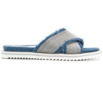 Jeans-Sandalen mit Perlendetails