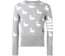 Intarsien-Pullover mit Entenmotiv