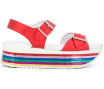 striped platform strappy sandals