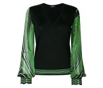 Bedruckter Pullover mit V-Ausschnitt