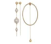 Faux Pearl and Oval Gold-plated Drop Earrings