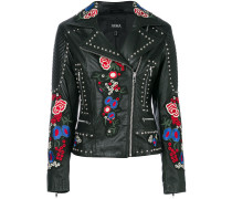 studded embroidered patch biker jacket