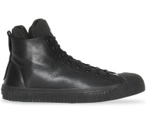 Leather and Neoprene High-top Sneakers