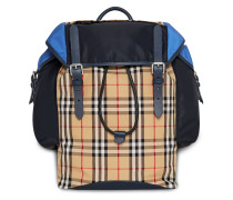 Colour Block Vintage Check and Leather Ranger Backpack