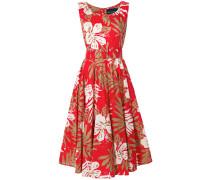 floral print belted waist dress
