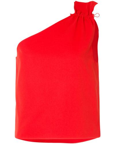 one-shoulder ruched blouse