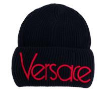 Gerippte Wollmütze mit Logo