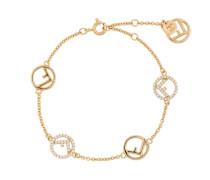 gold metallic F logo crystal embellished bracelet