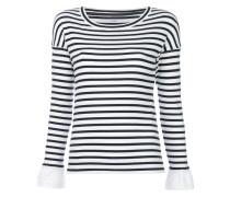 contrast-cuff striped top