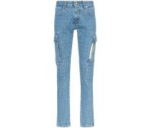 Skinny-Jeans mit Logo-Karomuster