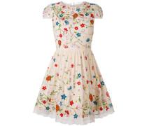 Minikleid mit Blütenstickerei