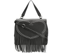 fringe detail studded shoulder bag