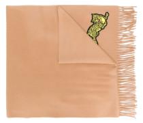 Wollschal mit Tiger-Stickerei