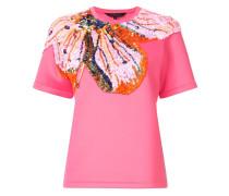 T-Shirt mit Paillettenblume