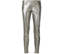 Skinny-Jeans in Metallic-Optik