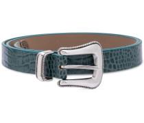 crocodile embossed buckle belt
