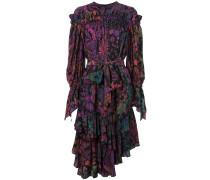 Gerüschtes Kleid mit Print