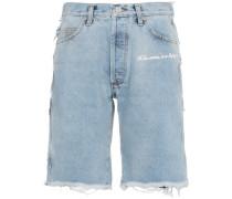mid rise patchwork denim shorts