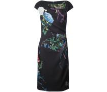 ruché detail floral print dress