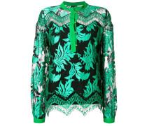 leaf jacquard sheer blouse