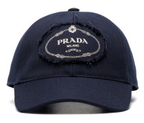 blue and white logo print cotton baseball cap