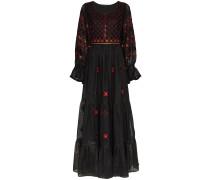 Jodhpur embroidered linen maxi dress