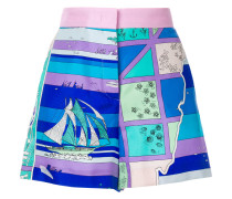 Bedruckte Shorts mit hohem Bund