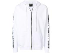 zipped printed hoodie