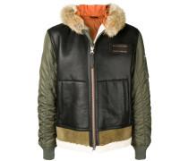 padded leather panel jacket