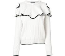 Gerippter Pullover mit Rüsche