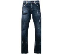 Patchwork-Jeans mit Farbklecksen