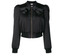 bow ribbon detail bomber jacket