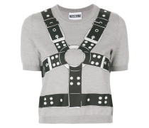 harness print cropped sweater