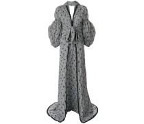 Smocked Gingham Blouson Sleeve maxi dress