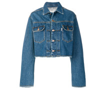 Cropped-Jeansjacke mit Print am Rücken