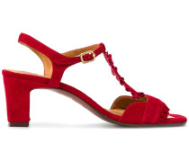 buckled ruffle sandals
