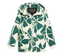 Floral Print Cashmere-silk Fleece Zipped Hoodie