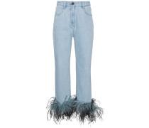Jeans mit Federbesatz