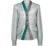 glitter stitch contrasting placket cardigan