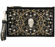 skull and stud embellished clutch