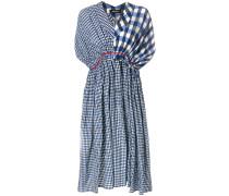 contrast check print dress