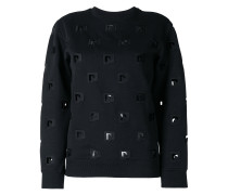 embroidered cut out sweatshirt