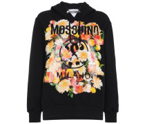 Cotton hoodie with floral logo motif